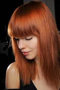 Red hair color, fringe bangs