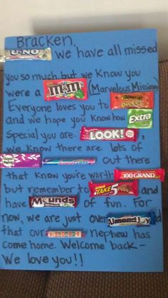 Fun Return Missionary Candy Bar Poster