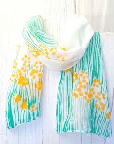 Hand Painted Silk Scarf Floral