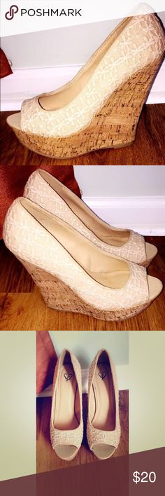 Sz.7.5 cream wedges Cream open toe wedges, excellent condition 'Windsor' Shoes Wedges