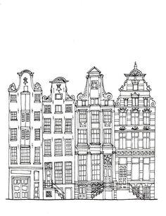 Amsterdam Houses Postcard by josephsegaran on Etsy Building Illustration, House Illustration, House Doodle, Amsterdam Houses, Amsterdam Art, Building Drawing, Arte Sketchbook, House Drawing, Dream Drawing