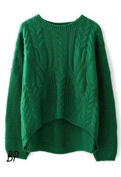 Green cable knit cozy sweater