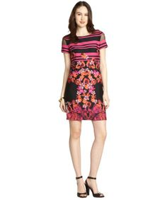 Donna Morgan : pink and black floral sheath dress : style # 332510801