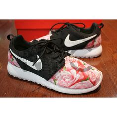 Ready to Ship Women Size 9 Nike Roshe Run Black White (Silver... ($180) ❤ liked on Polyvore featuring shoes, athletic shoes, dark olive, sneakers & athletic shoes, unisex adult shoes, floral pattern shoes, unisex shoes, floral shoes, print shoes and flower print shoes