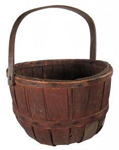 Apple Basket, early 20th century - note the tin repair . .