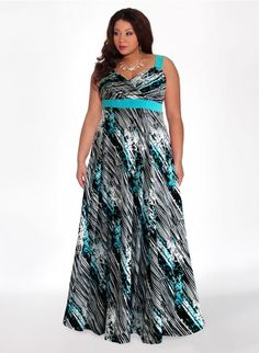Reflections Plus Size Maxi Dress in Azure