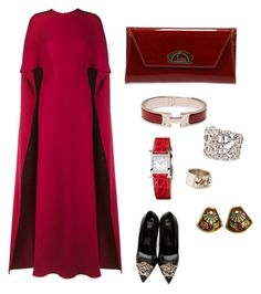 """""""Stepmother is coming!"""" by cacagasp on Polyvore featuring moda, Valentino, Christian Louboutin, Versace e Hermès"""