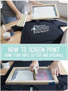 How to Screen Print Using Your Vinyl Cutter, Oracal 651, and Speedball {VIDEO TUTORIAL} Hey, HTV fans, have you tried screen printing with your vinyl cutouts rather than using HTV? It's easy and only requires a few more supplies! Full video tutorial and supply list.
