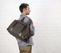 Cherchbi Squires Medium holdall, brown Herdwyck tweed