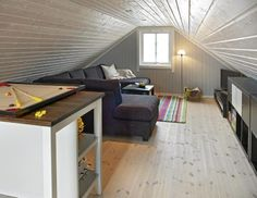 LAVT UNDER SKRÅTAKET. Oppholdsrommet regnes ikke som boligrom og det er kun 1,87 meter under taket. Plassen under skråtaket er godt utnyttet, også bak sofaen er det oppbevaringshyller. Furugulvet fra Siljan er hvitvokset. FOTO: Sveinung Bråthen