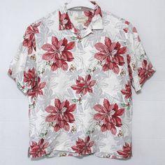 b0cc79fc Tommy Bahama Jingle Silver Bells Shirt Hawaiian Christmas Poinsettia XL # TommyBahama #Hawaiian