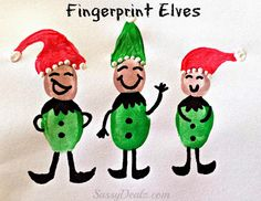 DIY fingerprint elves crafts for kids! Easy and cheap elf art project for Christmas time. #Christmas craft for kids | CraftyMorning.com