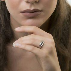 Υφή διπλό δαχτυλίδι - Μινιμαλιστική δαχτυλίδι - Διπλό δαχτυλίδι - Ασήμι 925 - Μινιμαλιστική κοσμήματα-μαύρο κυβικά ζιρκονία