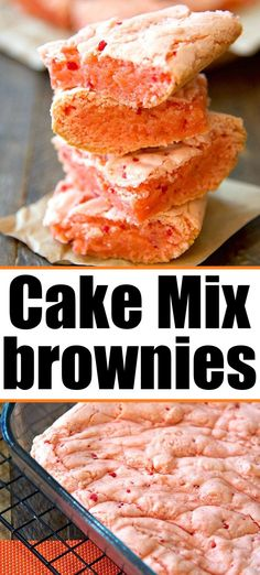 Cake Mix Desserts, Cake Mix Recipes, Cake Flavors, Brownie Recipes, Easy Desserts, Fast Dessert Recipes, Cupcake Recipes, Strawberry Brownies, Lemon Brownies