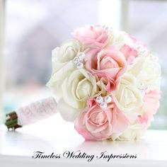 Bouquet Pink Roses Bridal Spring Wedding Pearls by TimelessWedding, $155.00