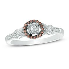 #Valentines #AdoreWe #Zales - #Zales 1/6 CT. T.w. Champagne and White Diamond Frame Promise Ring in Sterling Silver - AdoreWe.com
