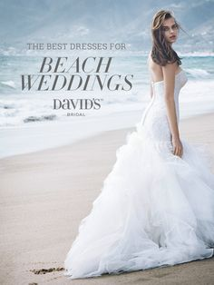 Having a wedding with sun and sand? See the top beach wedding dresses from David's Bridal.