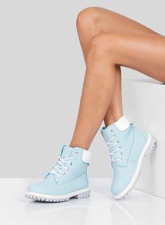 Niebieskie Botki Trapery Heidi / Botki / Obuwie damskie - Buty w stylu gwiazd. Modne obuwie, najnowsze trendy, atrakcyjne ceny. Sklep z butami i ubraniami, modne buty letnie i zimowe - DeeZee.pl