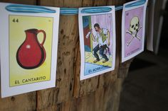 Love this - loteria cards as a banner for wedding decorations.