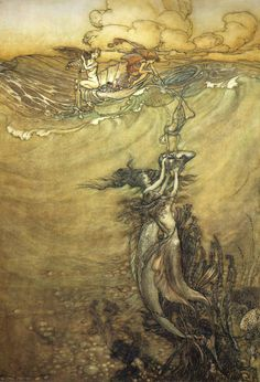 enchantingimagery:    A beautiful underwater illustration by Arthur Rackham. My scan.