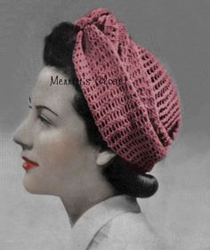 Turban Wrap Head Scarf Wartime Vintage by MerrittsCloset Mode Crochet, Knit Crochet, Crochet Hats, Vintage Knitting, Vintage Crochet, Turban, Crochet Buttons, Mittens Pattern, Outfits With Hats