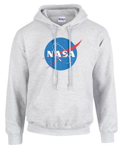 NASA Hooded Sweatshirt - The official NASA logo in vivid color. Designed in 1959 the sphere represents a planet, the stars represent space, the red chevron is a wing representing aeronautics (the latest design in hypersonic wings at the time the logo was developed), and then there is an orbiting spacecraft going around the wing.