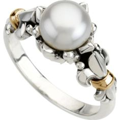 Sterling Silver Freshwater Cultured Pearl Fleur-de-lis Ring--- love this!