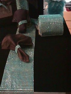 Silver diamond Look Bling mesh Table Runner 4 by BunnysCollections, $11.99