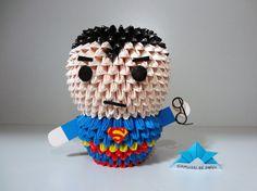 Origami 3D - Super Homem - Superman Origami 3d, Origami Ideas, Samurai, Paper Art, Paper Crafts, Quilling Art, Paper Folding, Aerial Photography, Free Pattern