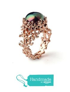 18k Rose Gold Plated Sterling Silver, Large 13mm Freshwater Cultured Black Pearl, Coral Organic Statement Ring, Sizes 4 to 13 from Arosha https://www.amazon.com/dp/B01CLP657S/ref=hnd_sw_r_pi_dp_Er8Dyb5CSXJQ9 #handmadeatamazon