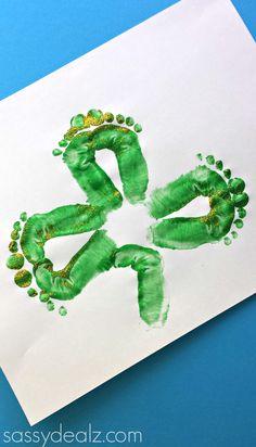Shamrock Footprint Craft for Kids! #St Patricks day art project #DIY #Clover   CraftyMorning.com