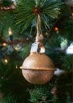 Santa Bell Ornament Gold