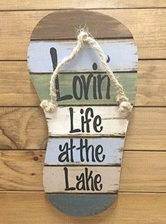FLIP FLOP Sign Reclaimed Wall Pallet Lovin Life at the lake \/ in Flip Flops Beach Wood Rustic Sandal Plaque 13\ X 7\ Vertical Nautical Wooden Sign with Twine Blue Green Brown White