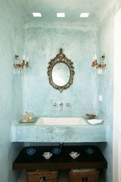 ... made for better life - Интерьеры от греческого дизайнера ♥ Interiors of the Greek designer -- I absolutely adore this bathroom. Blue washed walls and the gold go so well together! Maybe a blue washed accent wall would add just enough to the Minima flat.