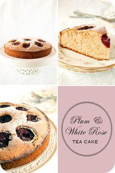 Plum and white rose tea cake set Fruit Cakes, Tea Cakes, Cupcake Cookies, Cupcakes, Victoria Plum, Rose Tea, Small Meals, Rose Cake, Evening Meals