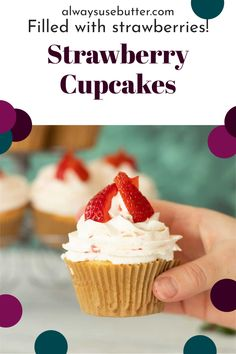 These Strawberry Filled Cupcakes are the ultimate summer cupcake, and loved by kids and adults alike. Easy to make with the best vanilla cupcake recipe, fresh strawberries and whipped cream they come together in under an hour. This is a recipe that tastes of Swedish summer, and is perfect for your Swedish Midsommar (Midsummer) celebrations, but just as delicious for a 4th of July or Independence Day celebration. Maybe add a few blueberries and make it a red white and blue cupcake? Best Vanilla Cupcake Recipe, Cupcake Recipes, Cupcake Cakes, Dessert Recipes, Desserts, Strawberry Filled Cupcakes, Cream Filled Cupcakes, Strawberry Whipped Cream, Strawberry Filling