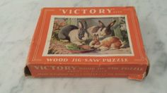 VINTAGE VICTORY WOOD JIGSAW PUZZLE MADE IN ENGLAND 15 PIECES RABBITS BUNNIES #VICTORY