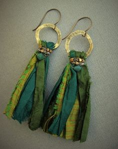 Items similar to Sari Silk Tassel Earrings Bohemian Summer Jewelry Textile Earrings Boho Chic Statement Earrings Green Teal Swarovski Crystal on Etsy Would make a good tassel for a necklace. Sari Silk Tassel Earrings Bohemian Summer Jewelry by SaudadeIndi Ribbon Jewelry, Tassel Jewelry, Textile Jewelry, Fabric Jewelry, Bohemian Jewelry, Jewelry Crafts, Handmade Jewelry, Women's Jewelry, Fashion Jewelry