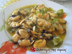 Mussels saganaki with mustard Greek Dishes, Mussels, Small Plates, Greek Recipes, Fish And Seafood, Potato Salad, Catering, Mustard, Dessert Recipes
