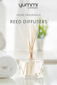 Diffusers, like a bouquet of flowers, disperses a constant scent until the oils run out. They are best for places you want a nice aroma but can't keep an eye on a candle.   Home Fragrance Reed Diffusers by Yummi Candles. Available in 8 detectible scents. Conveniently packaged for gifting. Held in a captivating glass cube bottle. Scented Oil Diffuser, Scented Oils, Yellow Candles, Tea Light Candles, Essential Oils Room Spray, Floating Candles Wedding, Candle Accessories, Glass Cube, Diffusers