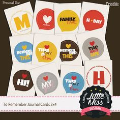Quality DigiScrap Freebies: To Remember journal cards freebie from Little Miss Designs