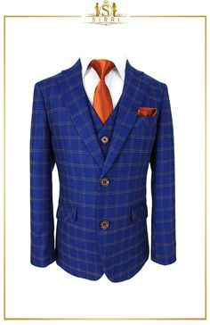 A sharp, clean cut suit that is for the seriously smart dressed young man. This Romano designed blue-brown check suit is on point with its lovely base tone of French Navy Blue. The subtle windowpane check is sophisticated and elegant. Shop now at SIRRI kids #boys formal wear #kids suits #page boy outfits