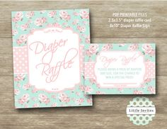 Diaper Raffle Card/baby shower Diaper Raffle Card by LittleInvites
