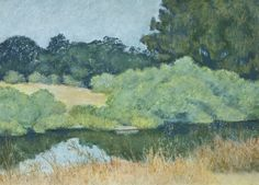 """Antonelli Pond #12: High Summer,"" oil pastel, by artist Susan W. Trimingham"