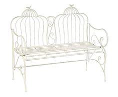 Panchina a 2 posti in metallo Birdcase bianco, 111x98x56 cm