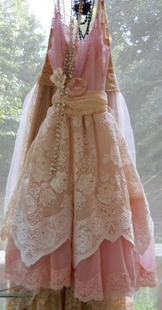 Pink tulle lace embroidery ruffle dress cream by vintageopulence