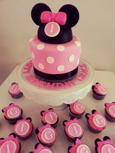 Minnie Mouse Cake and Cupcakes by Tasty Treat Buffets