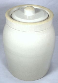 VINTAGE CATAWBA VALLEY NC POTTERY WHITE CROCK BUTTER HONEY STORAGE JAR & LID
