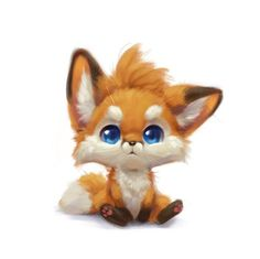 Cute Cartoon Boy, Cute Cartoon Animals, Cute Baby Animals, Cute Fox Drawing, Cute Drawings, Baby Animal Drawings, Animal Sketches, Cute Fantasy Creatures, Cute Creatures