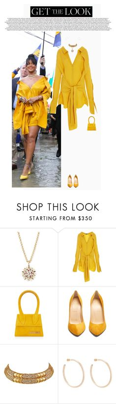 """Rihanna Attends Opening Ceremony of Rihanna Drive."" by poison-iivy ❤ liked on Polyvore featuring Turner & Tatler, Hellessy, Jacquemus, Christian Louboutin, Marina B, Jennifer Fisher, GetTheLook, Rihanna and CelebrityStyle"